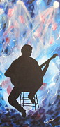 Stage Lights Paintings - The Blues Guitar by Wendy Smith