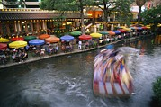 San Antonio River Walk Framed Prints - The Blur Of A Passing Tourist Boat Framed Print by Stephen St. John