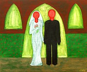 Buy Tshirts Painting Framed Prints - The Blushing Bride And Groom Framed Print by Patrick J Murphy