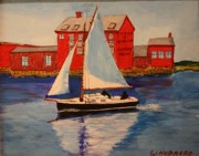 Studio Drawings - The Boat and The Paint Factory by Bill Hubbard