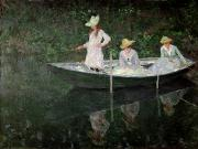 Fishing Boat Reflection Posters - The Boat at Giverny Poster by Claude Monet