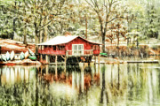Canoes Photo Framed Prints - The Boat House Framed Print by Darren Fisher