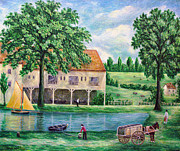 Horse And Cart Paintings - The Boat House by Ronald Haber