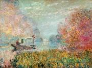 1875 Prints - The Boat Studio on the Seine Print by Claude Monet