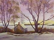 Snow Drifts Painting Posters - The Boathouse in Winter Poster by Jim Mc Partlin