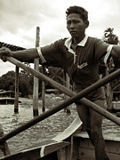 Teak Prints - The boatman of the lake Taungthaman - 2 Print by RicardMN Photography