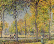 Impressionism Framed Prints - The Bois de Boulogne Framed Print by Alfred Sisley