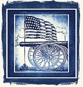 Usa Flag Mixed Media Metal Prints - The Bombs Bursting In Air Blue Metal Print by Angelina Vick