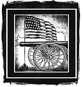 Usa Flag Mixed Media Metal Prints - The Bombs Bursting In Air BW Metal Print by Angelina Vick