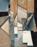 Cubism Painting Posters - The Book Poster by Juan Gris