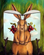 Tree Limb Posters - The Book Of Secrets 4-The Rabbit Story Poster by Leah Saulnier The Painting Maniac