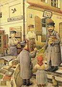 Books Framed Prints - The Bookman Framed Print by Kestutis Kasparavicius