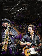 Celebrities Mixed Media Prints - The Boss and the Big Man Print by Russell Pierce