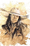 Cowboy Drawings - The Boss by Debra Jones