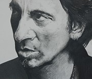 Bruce Springsteen Drawings - The Boss by Joan Pollak