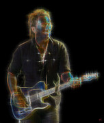Bruce Springsteen Art Prints Posters - The Boss Poster by Kenneth Johnson