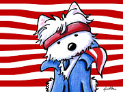 Red White And Blue Mixed Media Prints - The Boss Print by Kim Niles