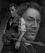 Bruce Springsteen Drawings - The Boss by Raoul Alburg
