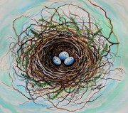 Beige Paintings - The Botanical Bird Nest by Elizabeth Robinette Tyndall