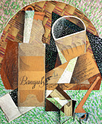 Cubist Posters - The Bottle of Banyuls Poster by Juan Gris
