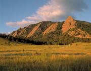 Mountains Posters - The Boulder Flatirons Poster by Jerry McElroy