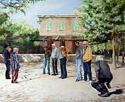 Game Pastels Metal Prints - The Boules Players Metal Print by Jeanne Rosier Smith