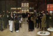 Cafe Scene Paintings - The Boulevard at Night by Jean Beraud