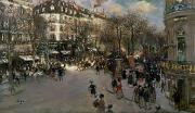 Crowd Scene Paintings - The Boulevard des Italiens by Jean Francois Raffaelli