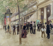 Umbrella Framed Prints - The Boulevard Montmartre and the Theatre des Varietes Framed Print by Jean Beraud