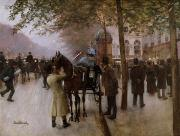 Parisian Street Scene Framed Prints - The Boulevards Framed Print by Jean Beraud