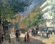 Police Paintings - The Boulevards  by Pierre Auguste Renoir