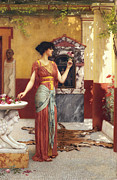Bouquet Of Roses Posters - The Bouquet Poster by John William Godward