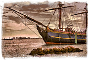 Sail Boats Prints - The Bow of the HMS Bounty Print by Debra and Dave Vanderlaan
