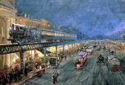 Steam Train Paintings - The Bowery at Night by William Sonntag