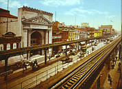 Photochrom Photos - The Bowery, The Third Avenue Elevated by Everett