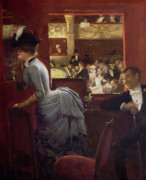 Black Tie Painting Framed Prints - The Box by the Stalls Framed Print by Jean Beraud