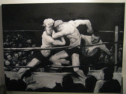 Boxing Drawings - The Boxing Match by John Baker