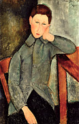 Contemplative Painting Posters - The Boy Poster by Amedeo Modigliani