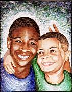 Smiles Mixed Media - The Boys  by Keenya  Woods