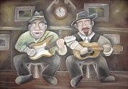 Folk Singers Framed Prints - The boys play on Framed Print by Caroline Peacock