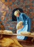 Hanging Baskets Paintings - The Breadbaker by Pauline Ross