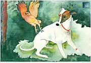 Whippet Painting Prints - The Break in the Forest Print by Eileen Hale