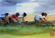 Cyclists Paintings - The Breakaway by Shirley  Peters