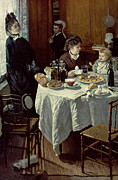 Interior Morning Paintings - The Breakfast by Claude Monet