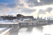 Schuylkill Digital Art Prints - The Breaking Sun Over Philadelphia Print by Bill Cannon