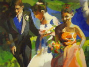 Maid Of Honor Paintings - The Bride by Cathy Noto