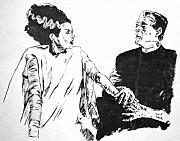 Frankenstein Drawings - The Bride of Frankenstein by Bryan Bustard