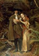 Couple Hugging Framed Prints - The Bride of Lammermoor Framed Print by Sir John Everett Millais