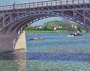 Iron  Posters - The Bridge at Argenteuil and the Seine Poster by Gustave Caillebotte