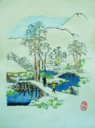 Winter Prints Drawings - The Bridge at Mishima by Roberto Prusso